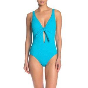 Athena NWOT Blue Textured Front Tie Swimsuit
